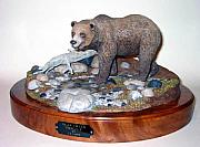 Clay Sculptures - Bear Creek Grizzly by Carl Capps