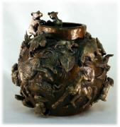 Western Reliefs Prints - Bear Cub Bronze Bowl Print by Dawn Senior-Trask