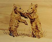 Playful Pyrography Prints - Bear Cubs Print by Chris Wulff