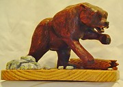 Wood Carving Sculpture Posters - Bear Encounter Poster by Russell Ellingsworth