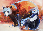 Cubs Painting Originals - Bear Family Outing by Kathy Braud