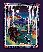 Batik Painting Posters - Bear Greets Magpie Poster by Harriet Peck Taylor