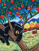Black Pastels Metal Prints - Bear in the Apple Tree Metal Print by Harriet Peck Taylor