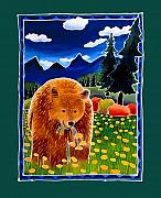 Folk Art Posters - Bear in the Dandelions Poster by Harriet Peck Taylor