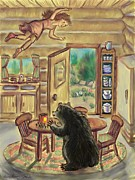 Floating Girl Posters - Bear in the Kitchen - Dream Series 7 Poster by Dawn Senior-Trask