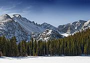 Bear Lake Acrylic Prints - Bear Lake in Rocky Mountain National Park Longs Peak is on the left and Chiefs Head peak to th right Acrylic Print by Brendan Reals