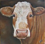Cows Paintings - Bear by Laura Carey