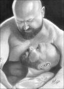 Homoerotic Drawings Framed Prints - Bear Love 4 Framed Print by Brent  Marr