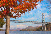 Impasto Photo Posters - Bear Mountain Bridge Autumn Impasto Poster by Clarence Holmes