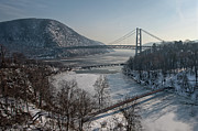Snow . Bridge Framed Prints - Bear Mountain Bridge Framed Print by Photosbymo