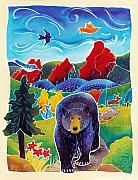 Batik Painting Posters - Bear on the Trail Poster by Harriet Peck Taylor