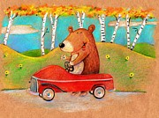 Juvenile Wall Decor Drawings Prints - Bear out for a drive Print by Scott Nelson