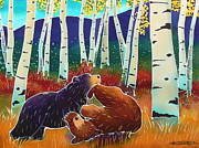 Yellowstone Painting Metal Prints - Bear Play Metal Print by Harriet Peck Taylor
