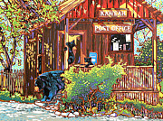 Three Rivers Paintings - Bear Post by Nadi Spencer