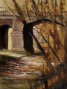 Northern Michigan Paintings - Bear River Bridge Petoskey by Sandra Strohschein