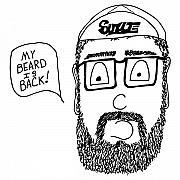 Bicycle Drawings - Beard Comic by Karl Addison