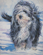 Collie Paintings - Bearded Collie in Snow by L A Shepard