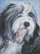 Collie Painting Framed Prints - Bearded Collie in Snow Framed Print by Lee Ann Shepard