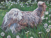 Collie Painting Framed Prints - Bearded Collie Framed Print by Lee Ann Shepard