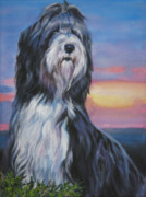 Collie Painting Framed Prints - Bearded Collie sunset Framed Print by L A Shepard