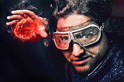 Warm Digital Art Originals - Bearded Emotional Man In Goggles Of Aviation Pilot With Fireball by Kireev Art