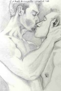 Caress Drawings - Bearded Kiss by John Keasler