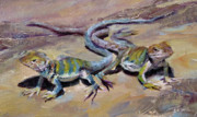 Lizards Paintings - Bearded Lizards by Jenifer Cline