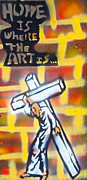 First Amendment Paintings - Bearing the Cross by Tony B Conscious