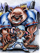 Sports Drawings Prints - Bears and Cubs Print by Big Mike Roate