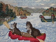 Lake Tapestries - Textiles Prints - Bears in Canoes Print by Brenda Ticehurst
