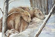 Nature Scene Mixed Media Metal Prints - Bears in The Snow Metal Print by Morgan Fitzsimons