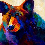Alaska Painting Posters - Beary Nice - Black Bear Poster by Marion Rose