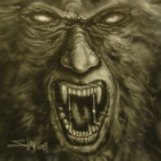 Horror Paintings - Beast by John Shook