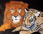 Tiger Pyrography Posters - Beasts at Peace Poster by Mike Holder