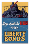 World War One Digital Art Metal Prints - Beat Back The Hun With Liberty Bonds Metal Print by War Is Hell Store