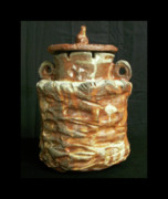 Glazed Pottery Ceramics - Beaten-Up Pot by Steven Keel