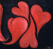 Acrylic Paintings - Beating Hearts  by Nancy Mueller