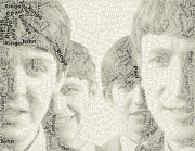 Beatles Art - Beatles Abstract Word Mosaic by Paul Van Scott
