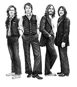 Pencil Portraits Drawings Posters - Beatles Drawing Poster by Murphy Elliott