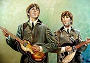 George Harrison Paintings - Beatles Paul and John by Leland Castro