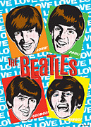 George Harrison Prints - Beatles Pop Art Print by Jim Zahniser