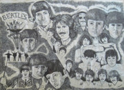 Music Drawings Framed Prints - Beatles Tribute Framed Print by Susan Plenzick