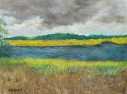 Salt Pastels Prints - Beaufort River Print by Julie Ann Roberts