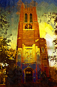 Campus Digital Art Posters - Beaumont tower  Poster by Paul Bartoszek