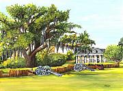 Southern Plantation Paintings - Beauregard House by Elaine Hodges