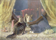 Kittens  Paintings - Beauties Toilet by Horatio Henry Couldery