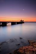 Beautiful Beach And Bridge Print by Oscar Gonzalez