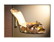 Pumps Painting Prints - Beautiful Brocade Slippers for a Ball Print by Elaine Plesser