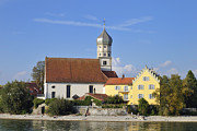 Wasserburg Framed Prints - Beautiful church in Wasserburg Lake Constance Framed Print by Matthias Hauser