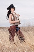 Full-length Portrait Photo Posters - Beautiful Cowgirl Poster by Cindy Singleton